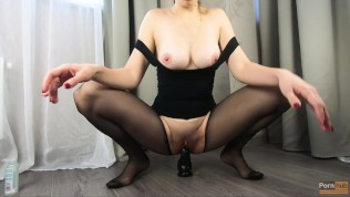 MILF jumping on top of a huge dildo in pantyhose – CatherineRain