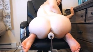Porcelain girl rides fucking machine and squirts on cam